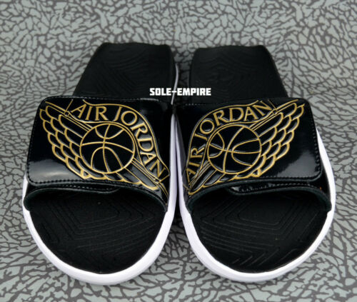 Nike Air Jordan Hydro 7 AA2517-021 Black Metallic Gold White Slide Sandals SALE