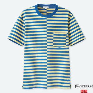 Uniqlo JW Anderson Asymmetrical Striped T Shirt Blue JWA 100% Supima Cotton