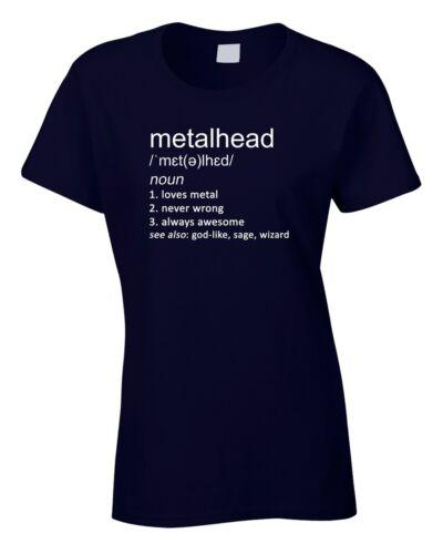 METALHEAD Femmes T-Shirt Drôle Cadeau Définition Musique Heavy Metal Rock