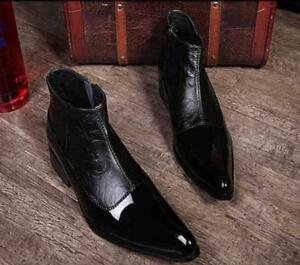 Mens Fashion Leather Ankle Boots Dress Formal Shoes Business Zipper