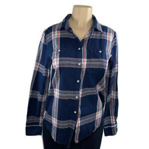 Stylus-Shirt-blouse-size-medium-blue-white-plaid-longsleeve-womens-casual-top