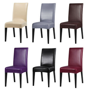 Surprising Details About 2 4 6 8Pcs Faux Leather Stretch Dining Chair Cover Slipcover Wedding Seat Covers Inzonedesignstudio Interior Chair Design Inzonedesignstudiocom