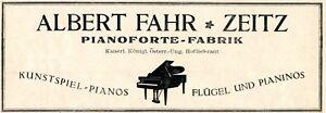 Inventif Piano Forte Usine Fahr Zeitz Publicité 1924 Piano Ailes Publicité-afficher Le Titre D'origine Luxuriant In Design