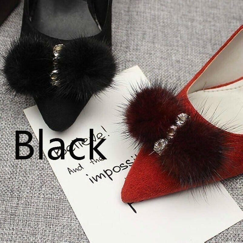 1 Pair Mink Fur Rhinestone Bow Shoe Clips Fluffy Ornament Heels Boot Charm Decor