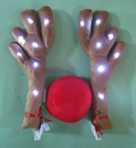 Lighted Antlers Red Nose Rudolph Reindeer Car Truck Costume ...
