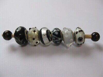 Granos De Cristal De Murano Plata 925 Core 6 Negro y Blanco Fit europeo pulsera con dijes
