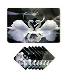Set Of 6 Place Mats And Coasters Heart Home Loving Duck Design Flor Dining Table