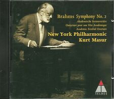 CD - Kurt Masur - New York Philharmonic - Brahms Sy. No. 2 - (5 Song) Teldec