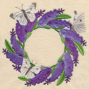 LAVENDER AND BUTTERFLY BEAUTY SET OF 2 BATH HAND TOWELS EMBROIDERED BY LAURA