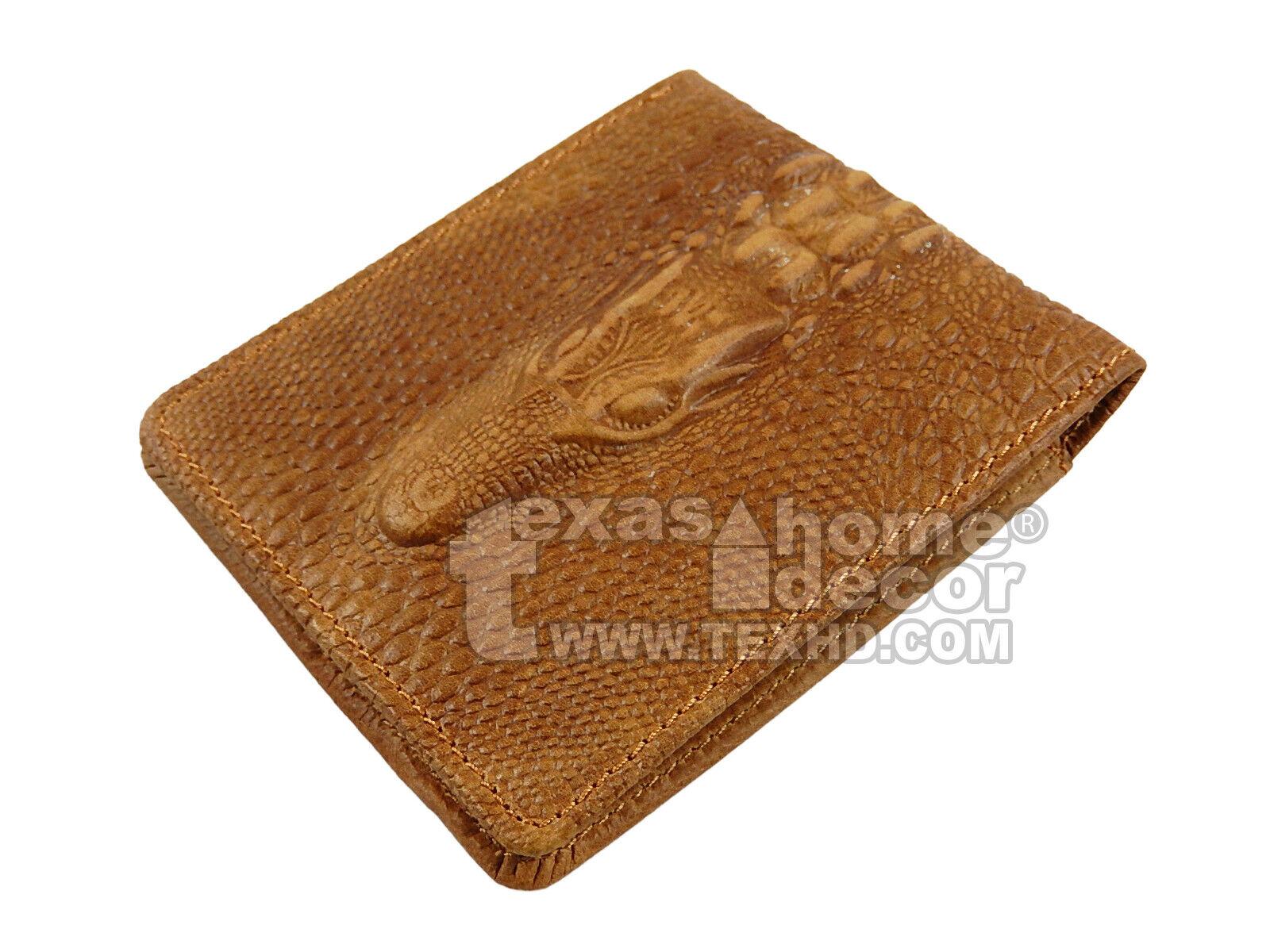 Western Bi-Fold Men's Wallet Genuine Hand Tooled Leather Crocodile Texture Brown