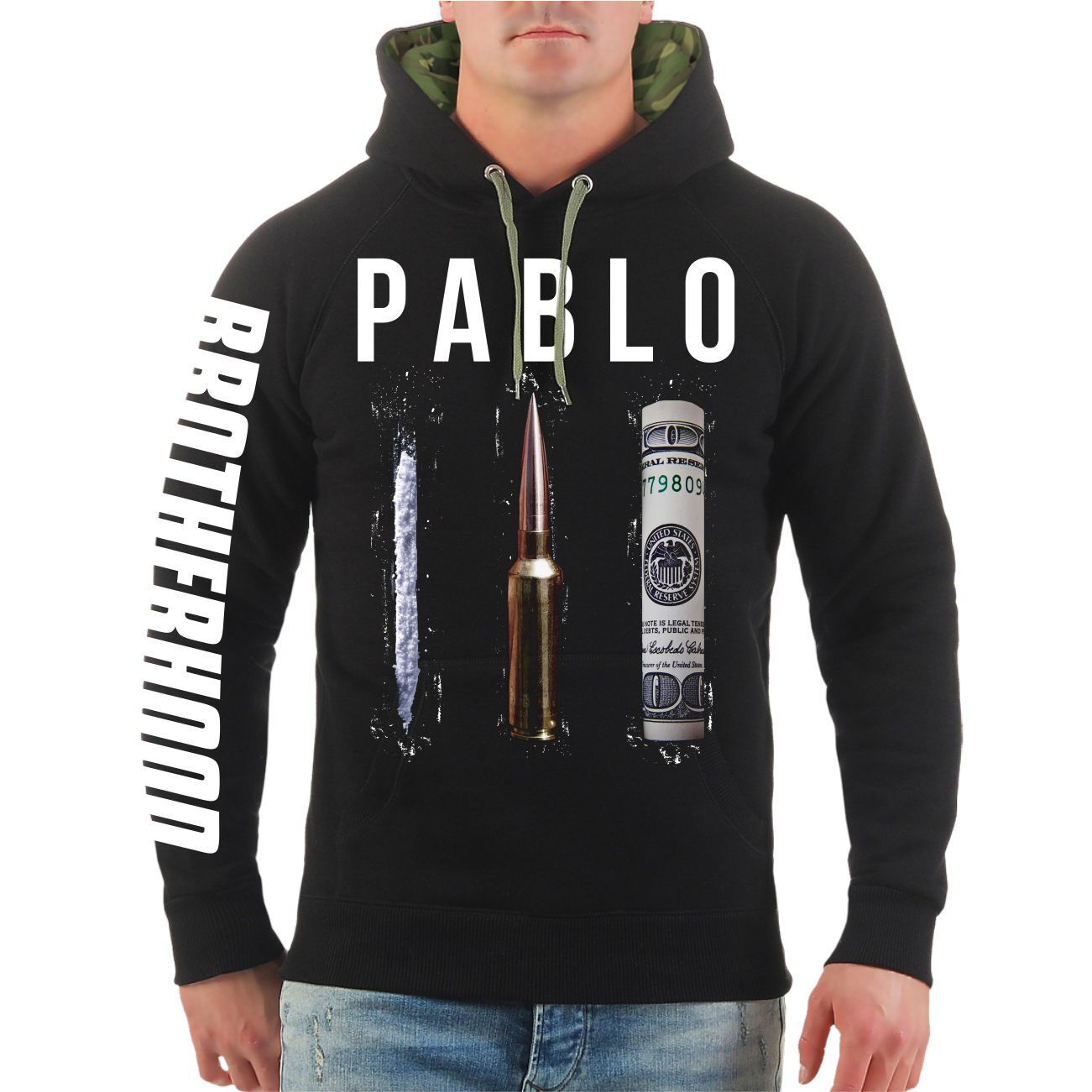 Kapuzenpullover Crime Money Cocaine Hoodie Sex Kolumbien Cosa Kartell Escobar