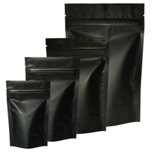Matte Black Pure Aluminum Foil Mylar Zip Lock Stand Up Bags Pouches Food Package