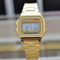 Retro Armbanduhr Edelstahl Oldschool Watches Uhr Digital Gold Splitter