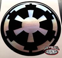 (4) Domed Star Wars Galactic Empire Wheel Center Cap Emblems Chrome On Black Wow