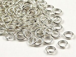 100 Silver Plated 1mm  Thick Metal Strong Jump Rings - 5mm, 6mm, 7mm, 8mm