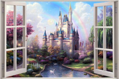 Huge 3D Window view Fairy Tale Castle Princess Wall Sticker Mural Art Decal  941