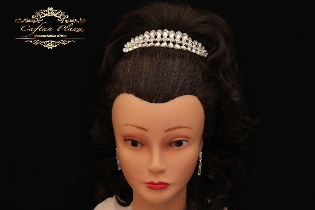 Tiara m Tiara Crown Rhinestone Crystal Bridal Jewellery Silver Elegant Crystal Drops