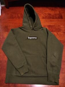 99f21c9ab268 Image is loading Supreme-Box-Logo-Hoodie-Medium-Army-AUTHENTIC-Pullover-