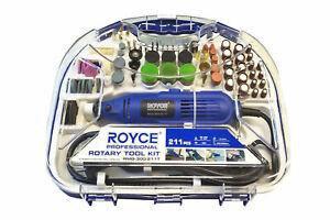 Kit-mini-trapano-211-pezzi-smerigliatrice-rotante-300W-punte-frese-Royce-RMG-300