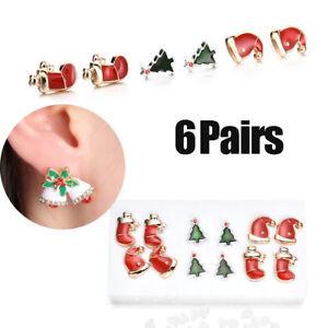 6-Pairs-set-Women-Christmas-Earrings-Xmas-Stocking-Bell-Hat-Tree-Ear-Stud-Dangle