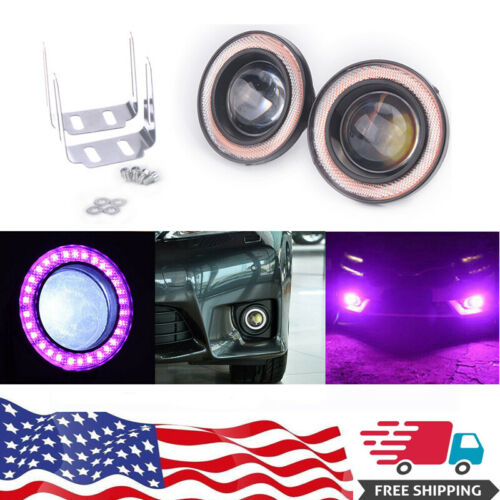 "2x 2.5/"" Purple LED Fog Light Projector Driving Lamp COB Angel Eye Halo Ring Kit"