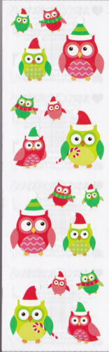 4 Strips Owl in Santa Hat /& Scarf Mrs Grossman/'s Stickers Christmas Owls