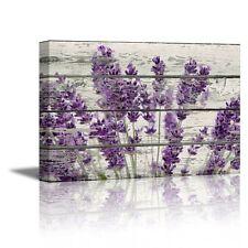 Framed Purple Lavender Flowers Canvas Art Vintage Wood Picture Prints Wall Decor