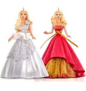 Celebration-Barbie-2015-Hallmark-Ornament-Set-Holiday-Barbie-2013-2014-Fashion