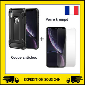 VERRE TREMPE + COQUE PROTECTION ANTI CHOC APPLE IPHONE X / XS / XR / XS MAX