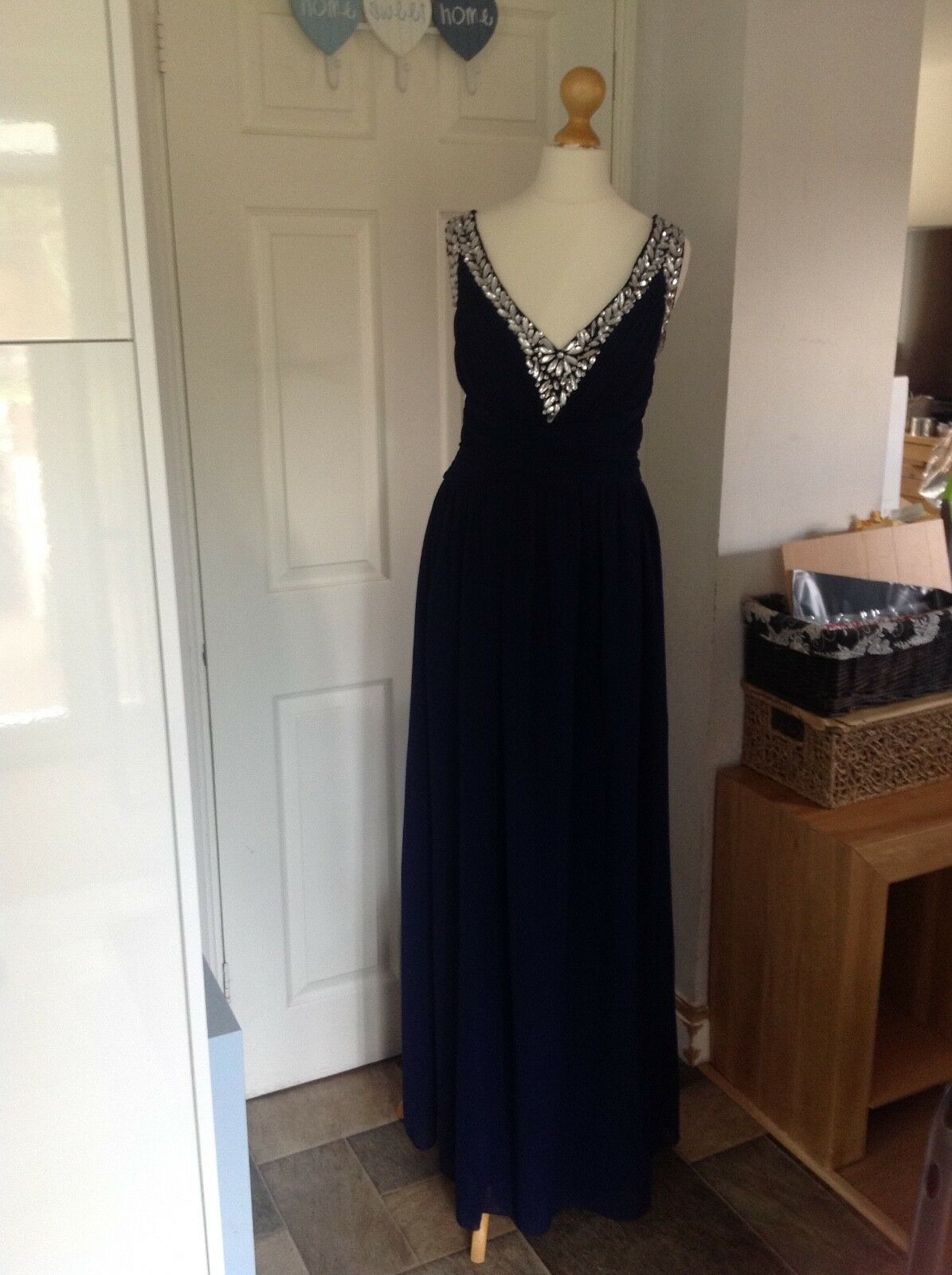Little Mistress Navy bluee Long Embelished Dress Size 14 perfect condition
