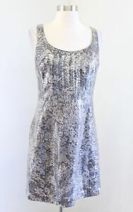 Kay Unger Gray Silver Brown Floral Print Sequin Sheath Dress Cocktail Party Sz 6