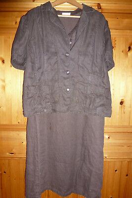 Bonita Leinen-Kleid mit Jäckchen Gr. 48 braun   eBay