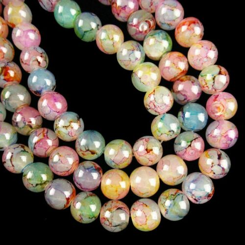 "1Strand 10mm Rainbow Fire//Dragon Veins Agate Ball Loose Bead 15.5 /"" A-548TZ"