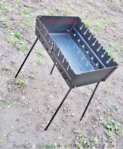 Armenian Mangal Brazier Portable Barbecue Grill Foldable Case 8 Skewer Steel 2mm
