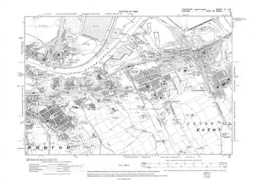 South Bank Yorkshire -1920 Old Map of  Middlesbough Grangetown Repro 6 SE
