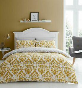 Catherine Lansfield Damask Easycare Duvet Cover / Quilt Cover/ Bedding Set Ochre