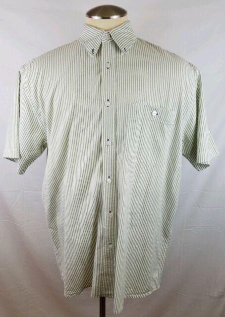 Orvis Mens 100% Cotton Short Sleeve Button Down Striped Shirt