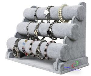 3er Schmuckständer Schmuckhalter Für Uhren Armband Samt Grau