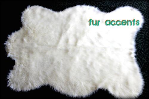 "FUR ACCENTS Faux Fur Bear Skin Rug Sheepskin Pelt Rug Off White  2'x4"""