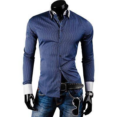 BOLF Herren Hemd Langarm Slim Fit Freizeit Shirt Long Casual Wear MIX 2B2 Polo