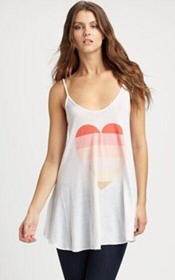 NWT WILDFOX COUTURE OFF Weiß COCONUT Farbe  BEACH HEART SLIP DRESS CAMI TOP