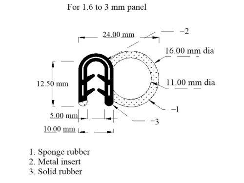 Medium Car Door Seal Rubber Universal EDGE TRIM 3mm 24mm x 16mm fits 1.6mm