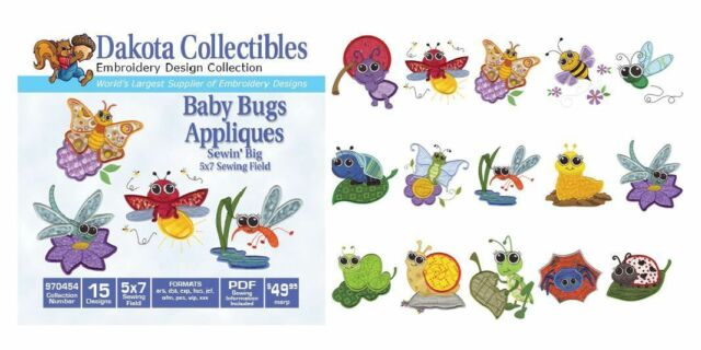 Dakota Collectibles 970454 Baby Bugs Appliques MultiFormat Embroidery Designs CD