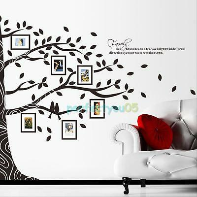 Removable Room Decor Family Quote Photo Frame Black Tree Wall Sticker Wall Decal
