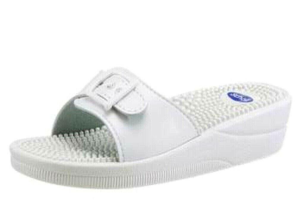 Neu Damen SCHOLL-Pantolette weiß Leder Noppen Fußbett Gummisohle EU 42 UK 8