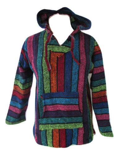 Mexican Jerga Baja Jumper Hoodie Hippy Festival Unisex Colourful KIDS TEENS S