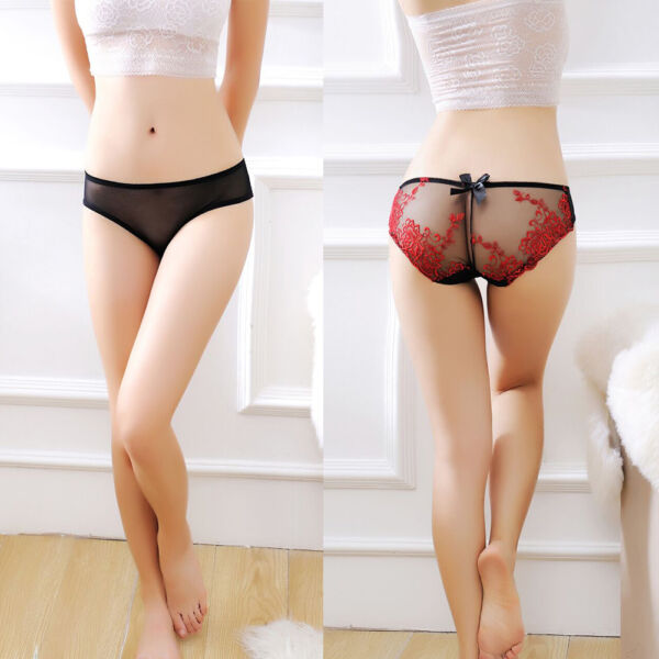 Damen Panty Slips Sexy Embroidery Transparent String Tanga Dessous G-Strings Hot