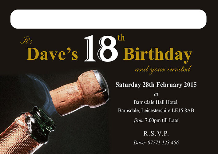 PERSONALISED BIRTHDAY INVITE Cork Party Invitation 18th 21st 30th 40th 50th 60th