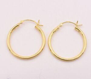 1-034-25mm-X-2mm-All-Shiny-Plain-Hoop-Earrings-14K-Yellow-Gold-Clad-Silver-925