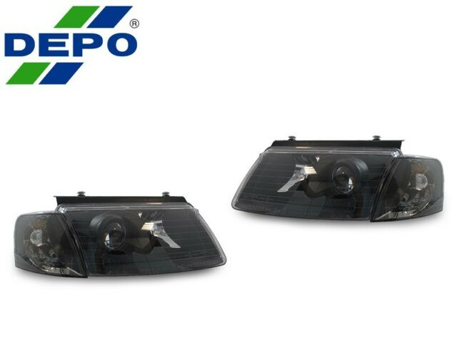 DEPO 1998-2000 VW PASSAT B5 BLACK E-CODE PROJECTOR HEADLIGHTS +CORNER LIGHTS NEW